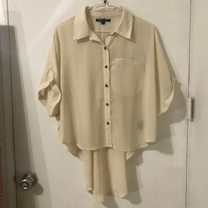 Volcom Cream button down short sleeve blouse
